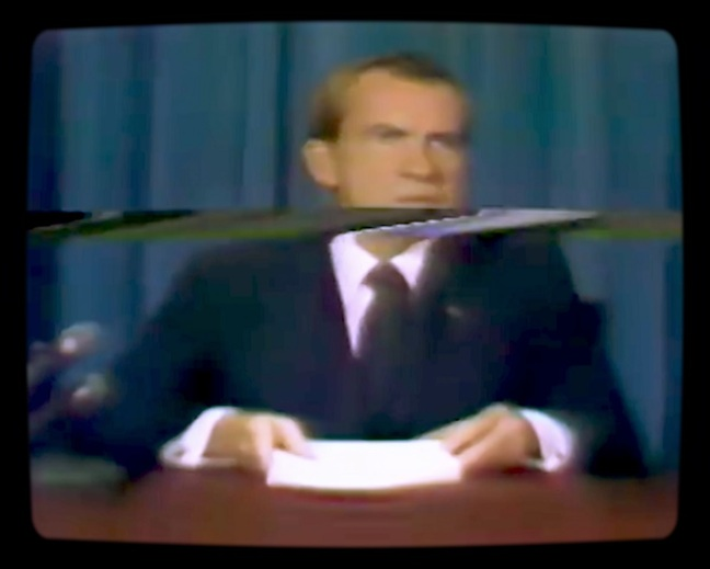 Deepfaked Richard Nixon from In Event Of Moon Disaster