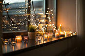 Some candles in a window