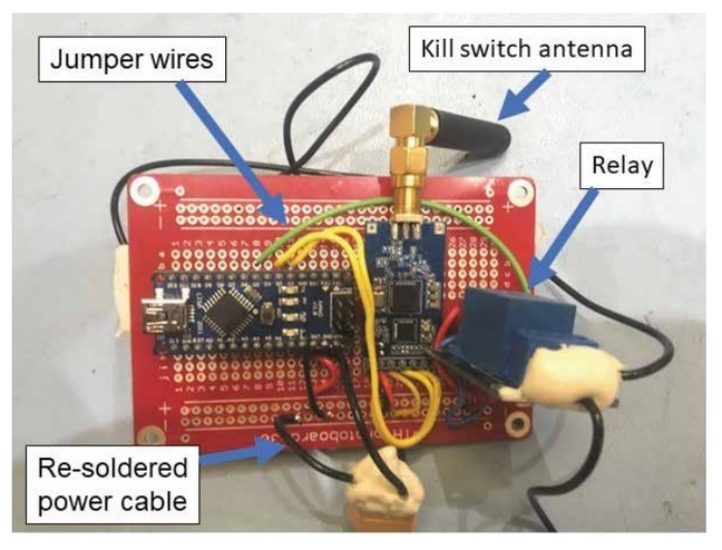 Airspeeder's killswitch. Note the use of red breadboard instead of a PCB