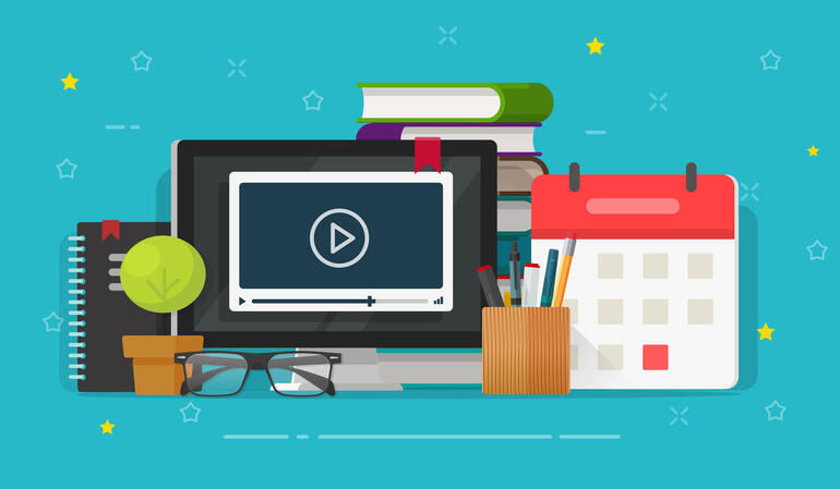 Webinar learning or video watching on computer screen vector illustration, flat cartoon working table desk and education stuff, idea of online courses or internet study, school or student workplace